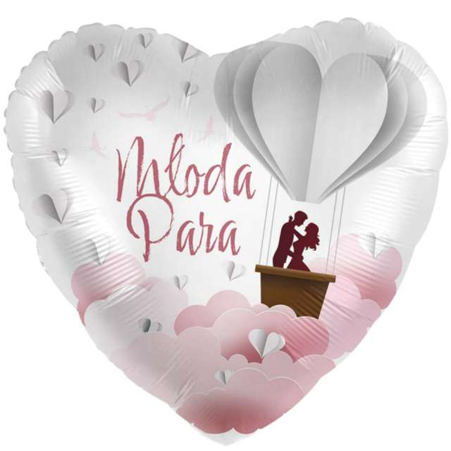 Balon foliowy Młoda Para - serce biało-złoty Amscan 17 HRT