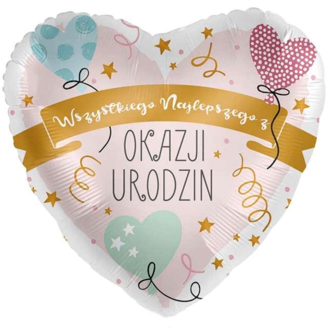 """Balon foliowy """"Wszystkiego Najlepszego z okazji Urodzin - serce"""", Amscan, 17"""", HRT"""