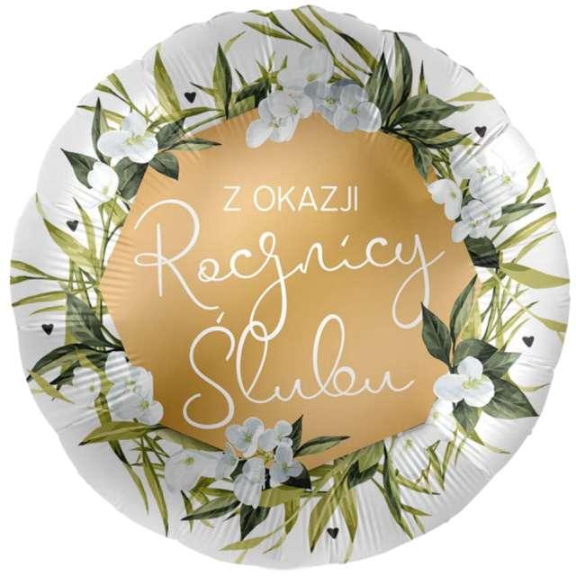 Balon foliowy Z okazji Rocznicy Ślubu biało-złoty Amscan 17 RND