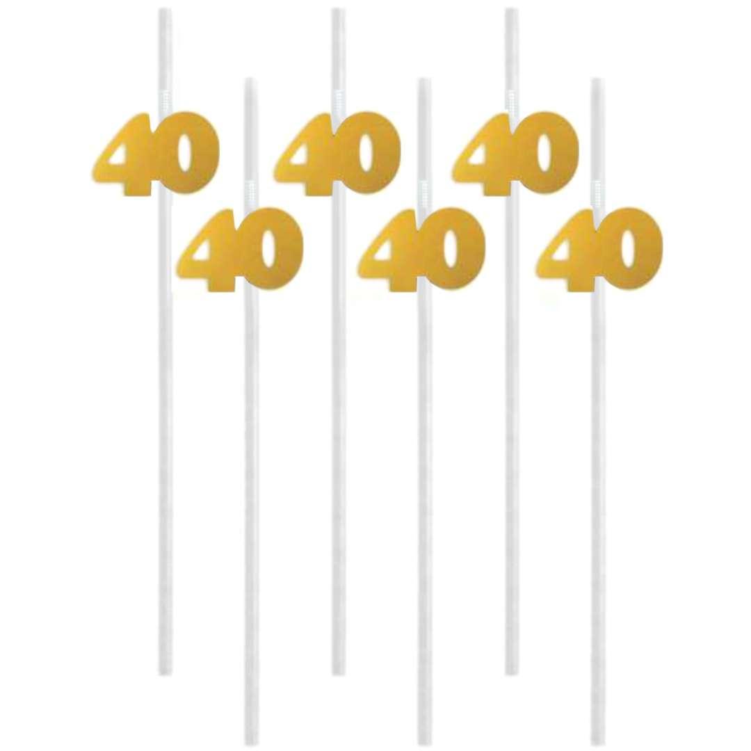 """Słomki """"40"""", 21 cm, złote, 6 szt"""