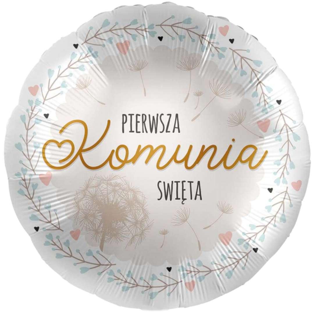 """Balon foliowy """"Pierwsza Komunia Święta"""", biało-złoty, Amscan, 17"""", RND"""