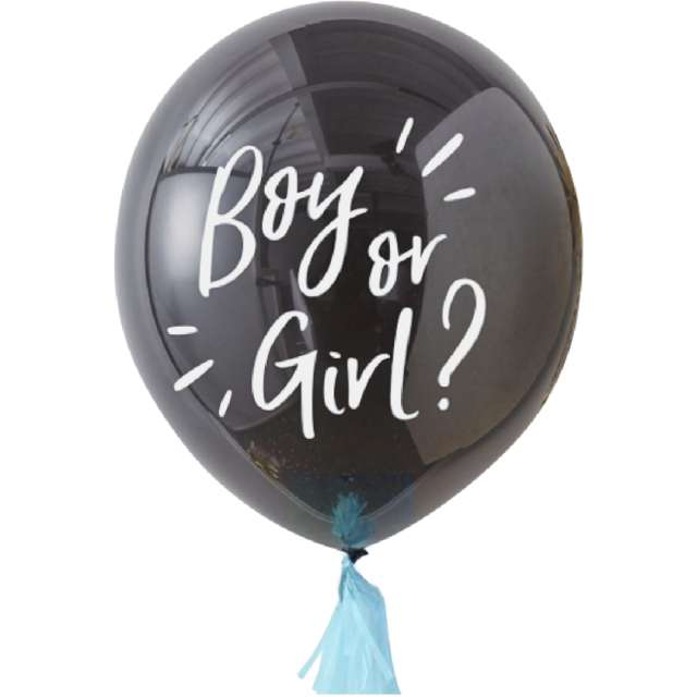 Balon Boy or Girl czarno-niebieski PartyPal 36