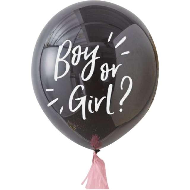 Balon Boy or Girl czarno-różowy PartyPal 36