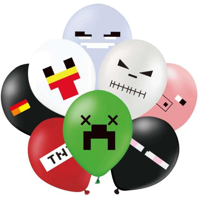 "Balony ""Piksel - Mix"", PartyPal, 12"", 8 szt"