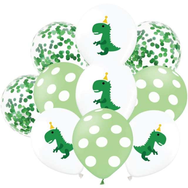 """Balony """"Urodziniwe Dinozaury"""", biało-zielone, PartyPal, 12"""", 10 szt"""