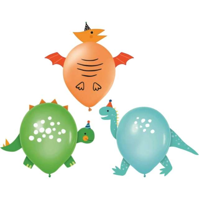 """Balony """"Dinozaur Party"""", mix, PartyPal, 12"""", 3 szt"""