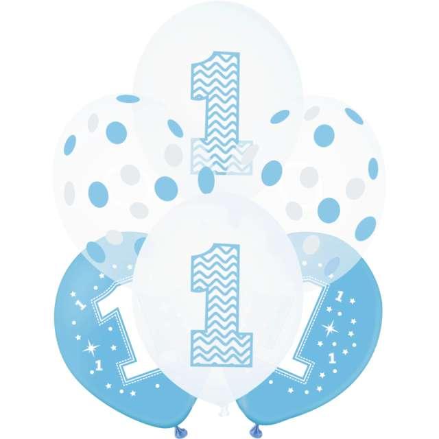 """Balony """"1 Urodziny"""", biało-niebieskie, PartyPal, 12"""", 6 szt."""