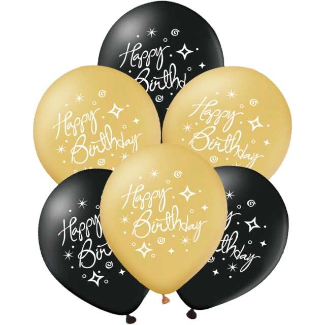 """Balony """"Happy Birthday """", złoto-czarne, PartyPal, 12"""", 6 szt"""