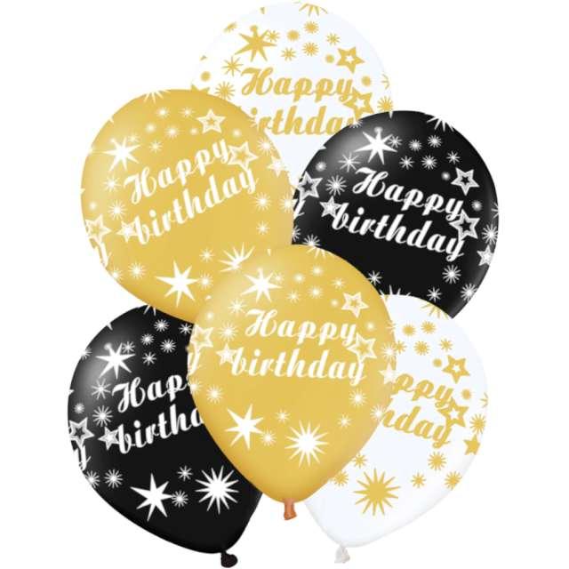 Balony Happy Birthday  biało-złoto-czarne PartyPal 12 6 szt