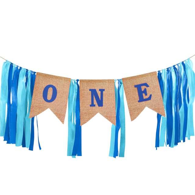 """Baner """"1 Urodziny - One"""", niebieskie wstążeczki, PartyPal"""