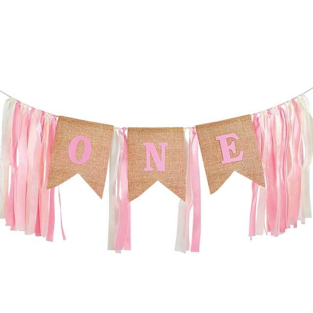 """Baner """"1 Urodziny - One"""", różowe wstążeczki, PartyPal"""
