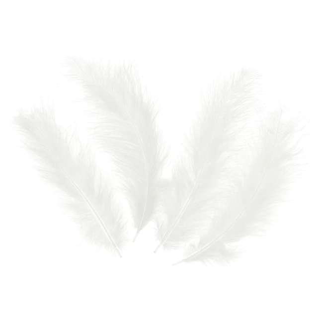 Piórka dekoracyjne Długie białe PartyPal 10-15 cm 50 szt
