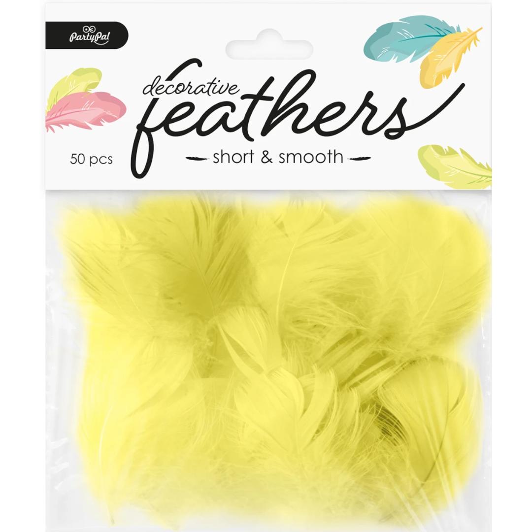 Piórka dekoracyjne Długie żółte PartyPal 10-15 cm 50 szt
