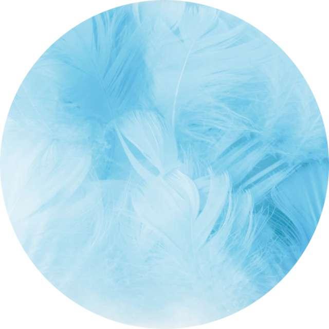 Piórka dekoracyjne Krótkie błękitne PartyPal 5-8 cm 50 szt