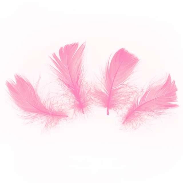 Piórka dekoracyjne Krótkie różowe PartyPal 5-8 cm 50 szt