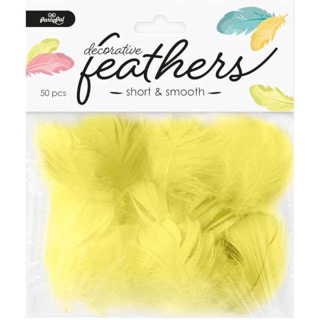 Piórka dekoracyjne Krótkie żółte PartyPal 5-8 cm 50 szt
