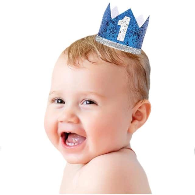 Korona party 1 Roczek- niebieska brokatowa PartyPal