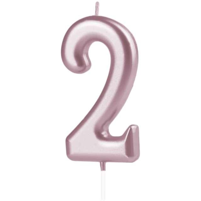 Świeczka Cyfra 2 PartyPal różowe złoto 10 cm