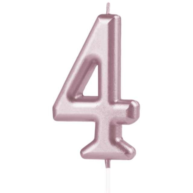 Świeczka Cyfra 4 PartyPal różowe złoto 10 cm