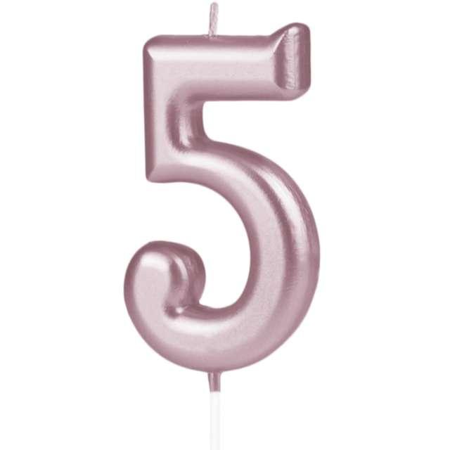 """Świeczka """"Cyfra 5"""", PartyPal, różowe złoto, 10 cm"""