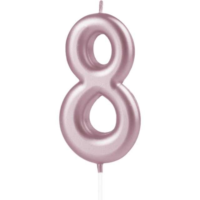 """Świeczka """"Cyfra 8"""", PartyPal, różowe złoto, 10 cm"""