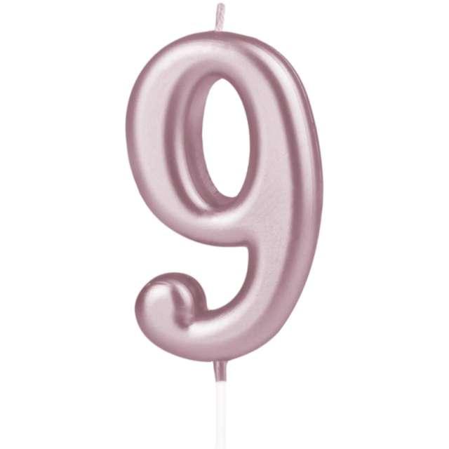 """Świeczka """"Cyfra 9"""", PartyPal, różowe złoto, 10 cm"""