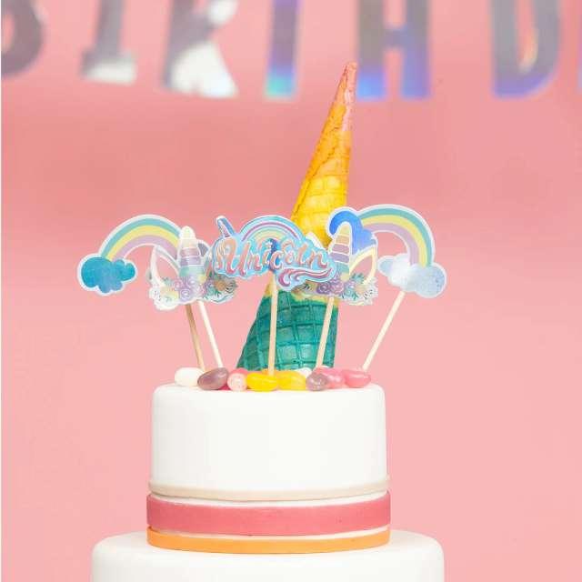 Dekoracja na tort Jednorożec - Unicorn PartyPal 9 cm 5 szt