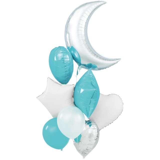 Balony Zestaw Imprezowy biało-srebrno-błękitny Partypal