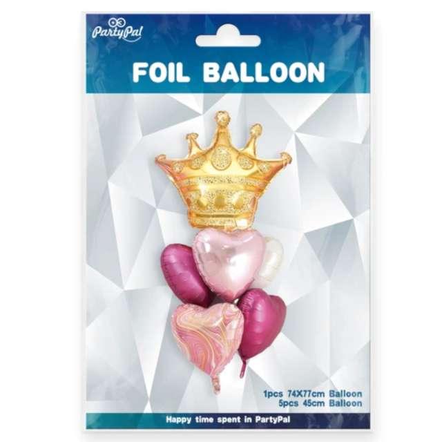 Balony Zestaw Imprezowy z koroną złoto-różowy Partypal