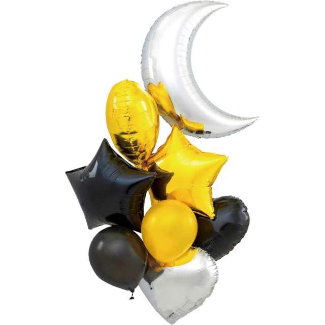 Balony Zestaw Imprezowy czarno-złoto-srebrne Partypal