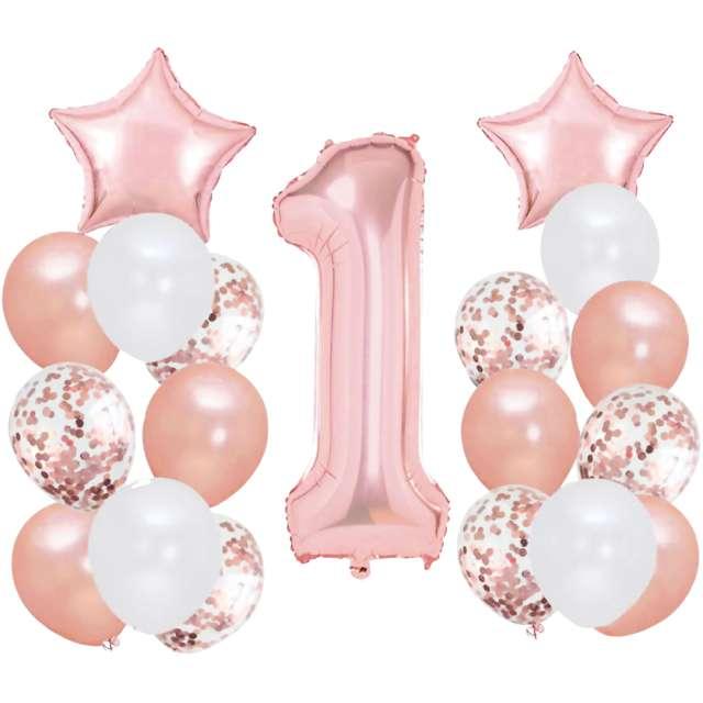"""Balony """"Roczek - 1 Urodziny"""", rose gold, Partypal, zestaw"""