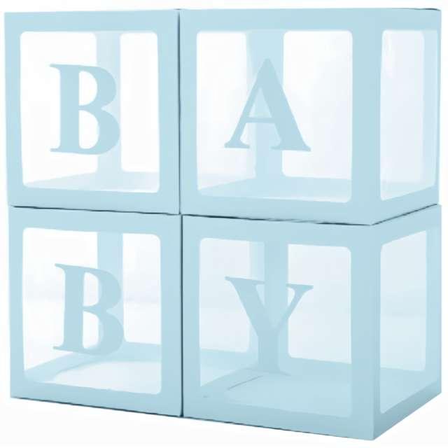 "Pudełka na balony ""Baby"", błękitne, PartyPal, 4 szt"