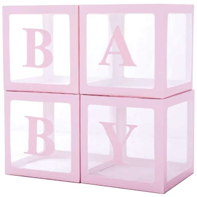 Pudełka na balony Baby różowe PartyPal 4 szt