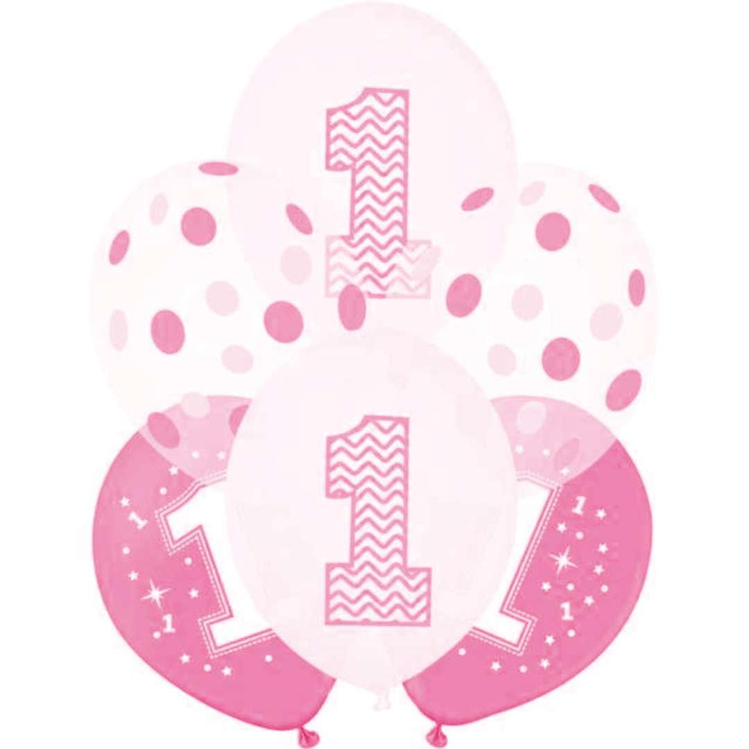 """Balony """"1 Urodziny"""", biało-różowe, PartyPal, 12"""", 6 szt."""