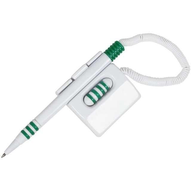 """Długopis """"Na sprężynie, leżący"""", biało-zielony, D.RECT AT-15"""