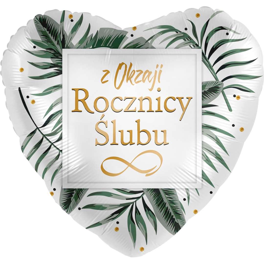 Balon foliowy Z okazji Rocznicy Ślubu - serce biało-złoty Amscan 17 HRT