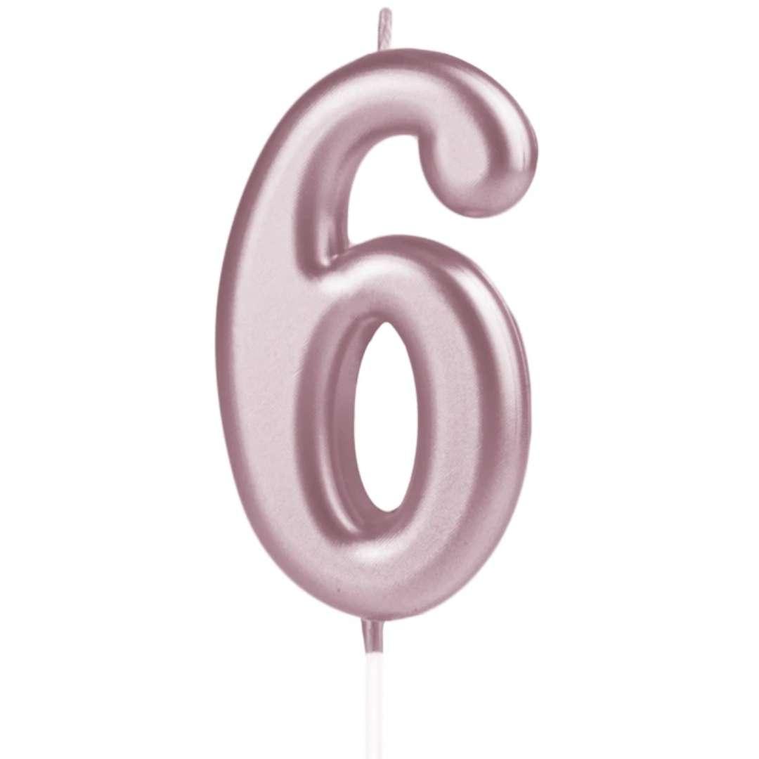 """Świeczka """"Cyfra 6"""", PartyPal, różowe złoto, 10 cm"""