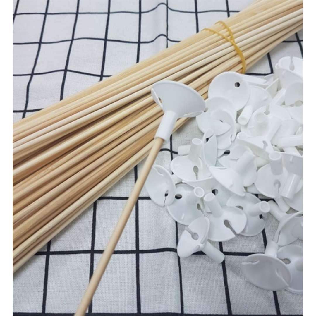 Patyczki do balonów Ekologiczne białe Diament-Plast 40 cm 10 szt