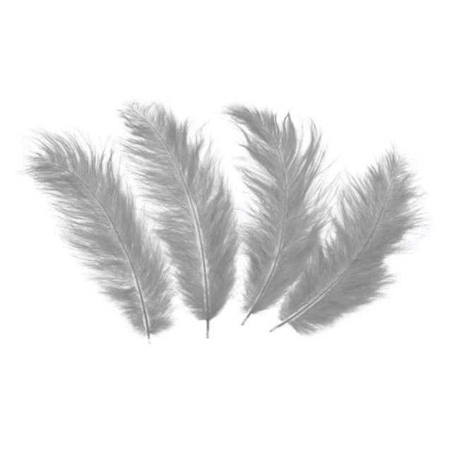 Piórka dekoracyjne Długie szare PartyPal 10-12 cm 50 szt