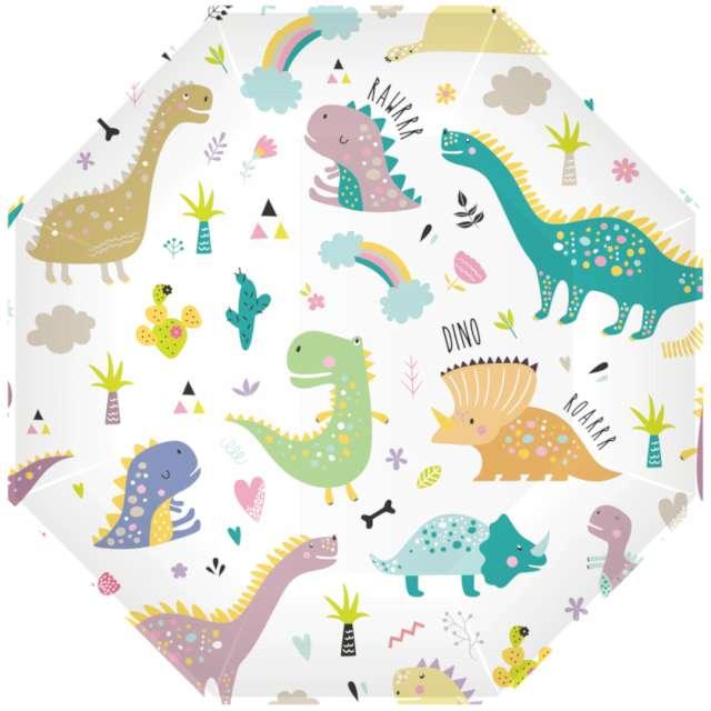 """Talerzyki papierowe """"Dinozaury"""", kolorowe, PartyPal, 9"""", 6 szt"""