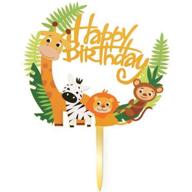Dekoracja na tort Happy Birthday w ZOO PartyPal 15 cm