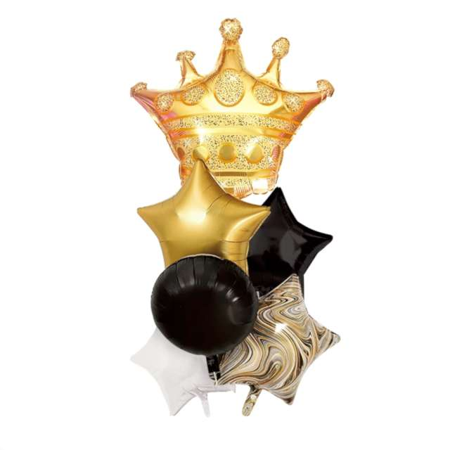 """Balony """"Zestaw Imprezowy z koroną"""", złoto-czarny, Partypal"""