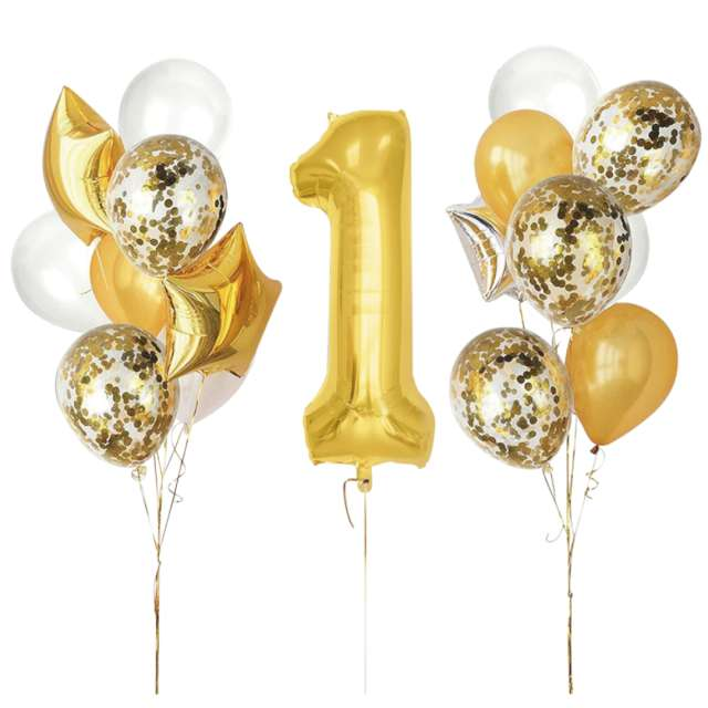 Balony Roczek - 1 Urodziny biało-złote Partypal zestaw