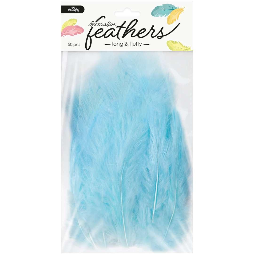 Piórka dekoracyjne Długie niebieskie PartyPal 10-15 cm 50 szt