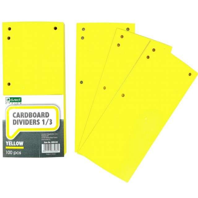 Przekładki kartonowe Do segregatora żółte D.RECT 100 szt