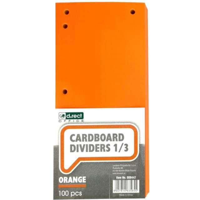 Przekładki kartonowe Do segregatora pomarańczowe D.RECT 100szt