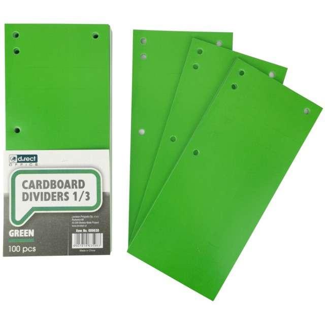 Przekładki kartonowe Do segregatora zielone D.RECT 100 szt