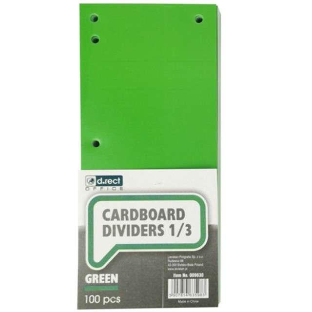 Przekładki kartonowe Do segregatora zielone D.RECT 100szt