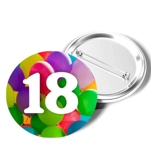 """Przypinka """"18 Urodziny"""", okrągła, kolor mix, 56 mm"""