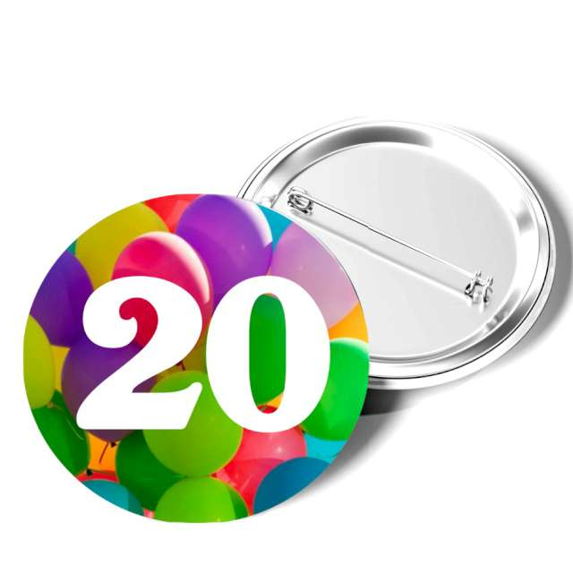 """Przypinka """"20 Urodziny"""", okrągła, kolor mix, 56 mm"""